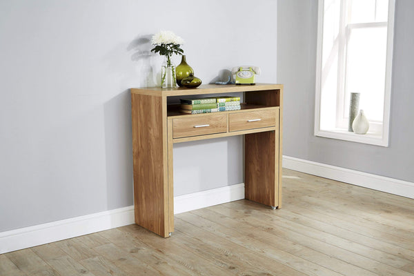 GFW Console Table Regis Extending Console Desk  Oak Bed Kings