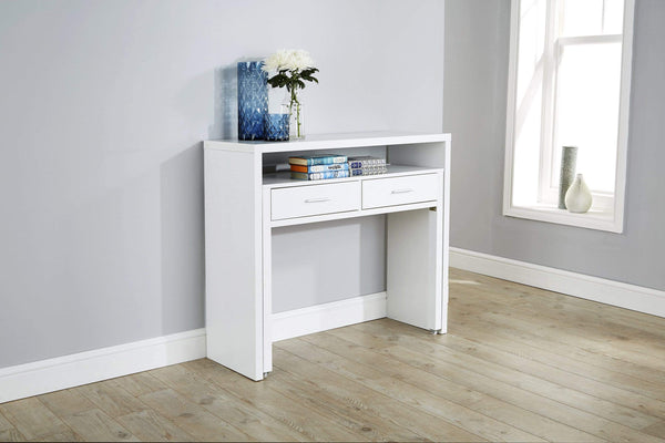 GFW Console Table Regis Extending Console Desk  White Bed Kings