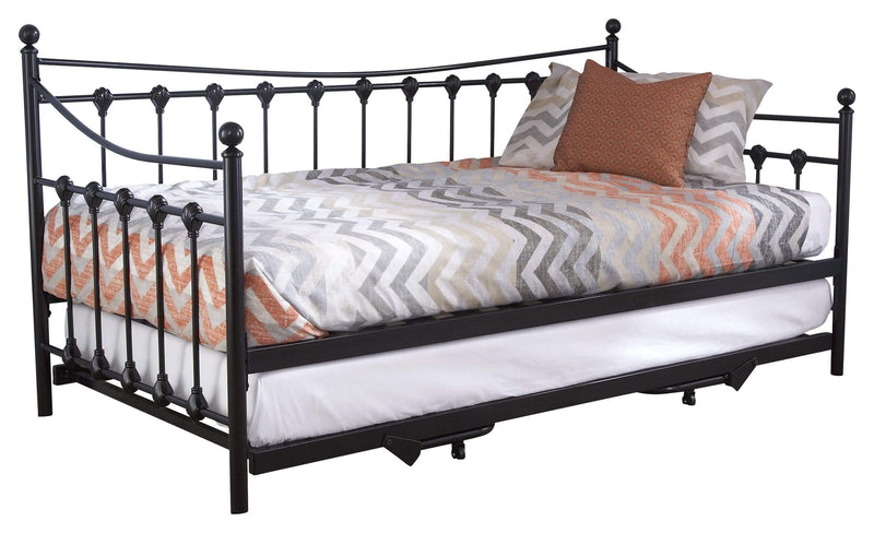 GFW Day Bed and Trundle Set Single 90cm 3ft Memphis Day Bed With Trundle Bed Black Bed Kings