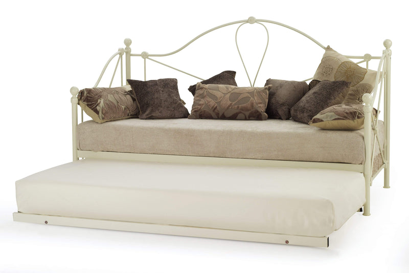 Serene Day Bed and Trundle Set Lyon  Metal Day Bed & Guest Bed Set - Ivory Bed Kings