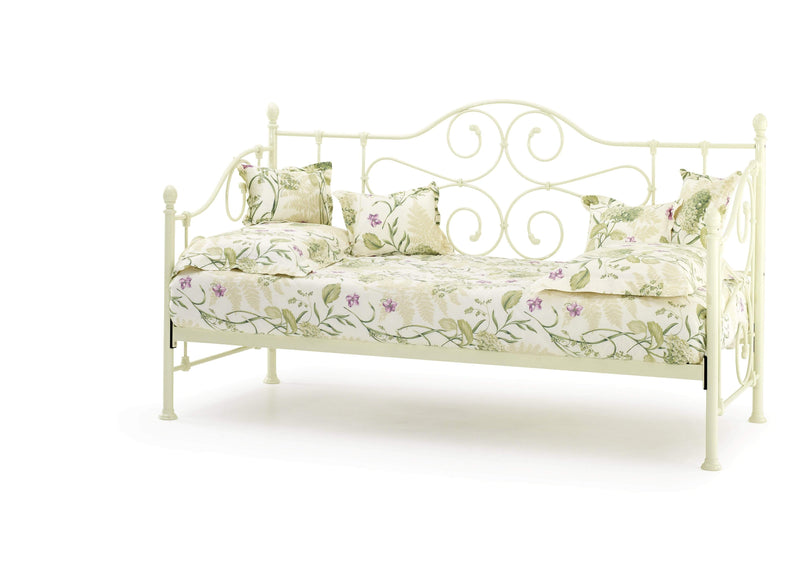 Serene Day Bed and Trundle Set Single 90cm 3ft Florence Metal Day Bed & Trundle Bed- Ivory Bed Kings