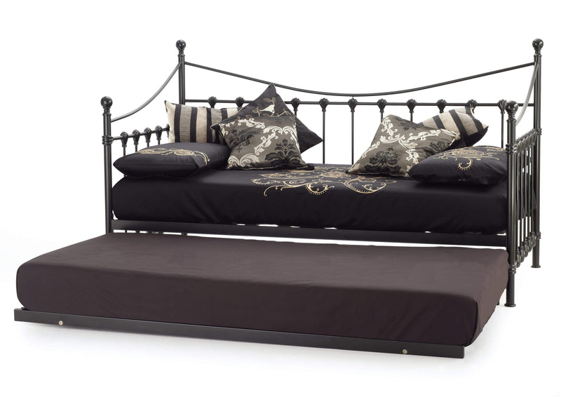 Serene Day Bed and Trundle Set Single 90cm 3ft Marseille Metal Day Bed & Guest Bed Set - Black Bed Kings