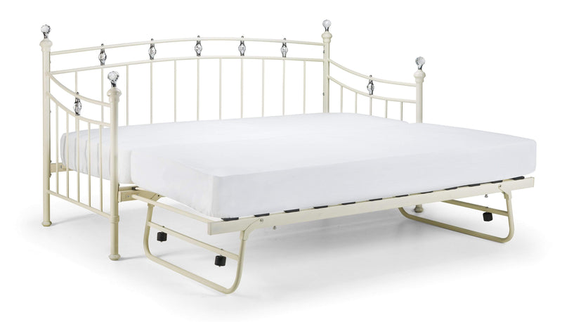 Julian Bowen Day Bed Single 90cm 3ft Sophie Daybed - Daybed - Stone White Satin Bed Kings