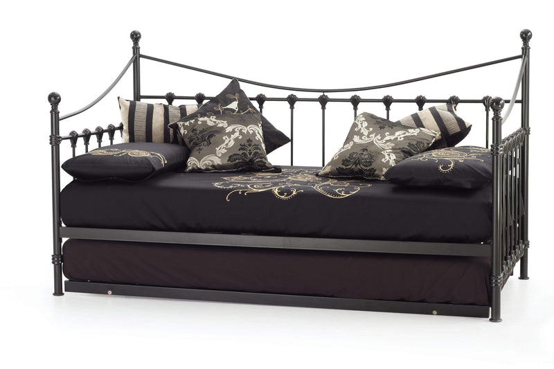 Serene Day Bed Single 90cm 3ft Marseille  Metal Day Bed - Black Bed Kings