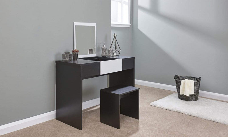 CLEARANCE -  Marlow Dressing Table Set Black + White Top