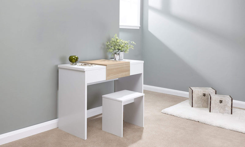 GFW Dressing Table Set Marlow Dressing Table Set  White + Oak Top Bed Kings