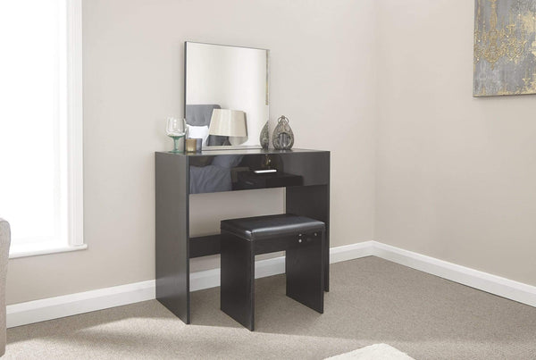 GFW Dressing Table Set Ottawa Dresser & Stool Black Bed Kings