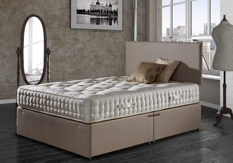 Deluxe Beds Fabric Bed Natural Luxury 1500 Divan Bed Set (Base + Mattress) Bed Kings