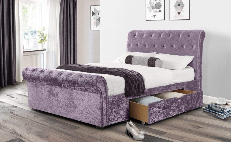 Julian Bowen Fabric Bed Verona 2 Drawer Storage Bed Lilac Crush - Verona - Lilac Crush Bed Kings