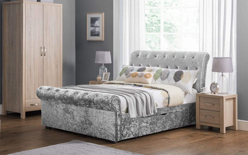 Julian Bowen Fabric Bed Verona 2 Drawer Storage Bed Silver Crush - Verona - Silver Crush Bed Kings