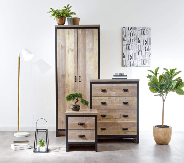 GFW Bedroom Set Boston 3 Piece Set Oak
