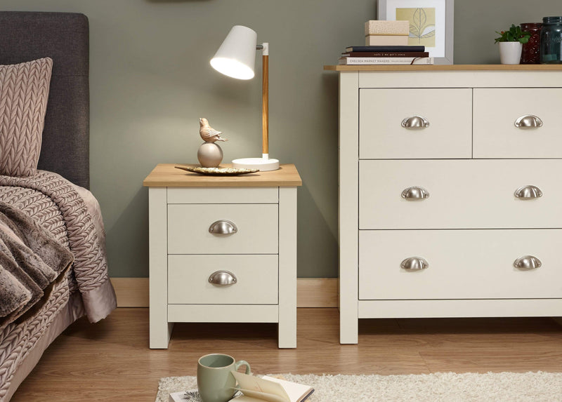 GFW Bedside Table Lancaster 2 Drawer Bedside Cream