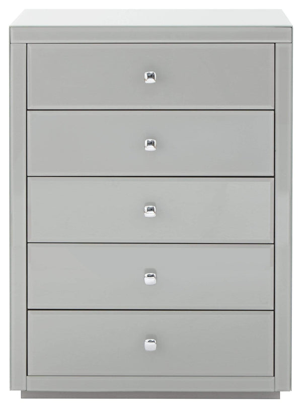 GFW Chest of Drawers Amalfi 5 Drawer Glass Tallboy Grey