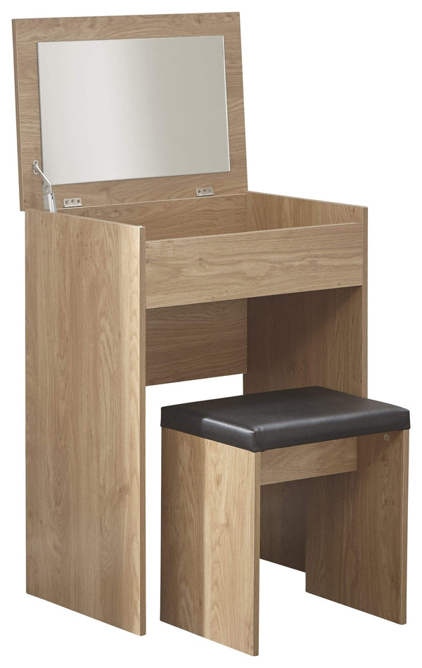 GFW Dressing Table Set Compact Dresser + Stool Oak