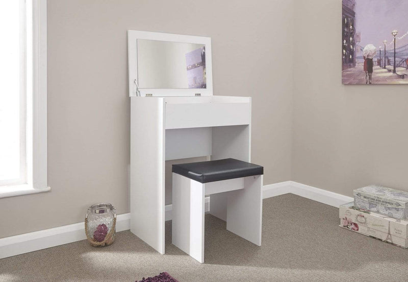 GFW Dressing Table Set Compact Dresser + Stool White
