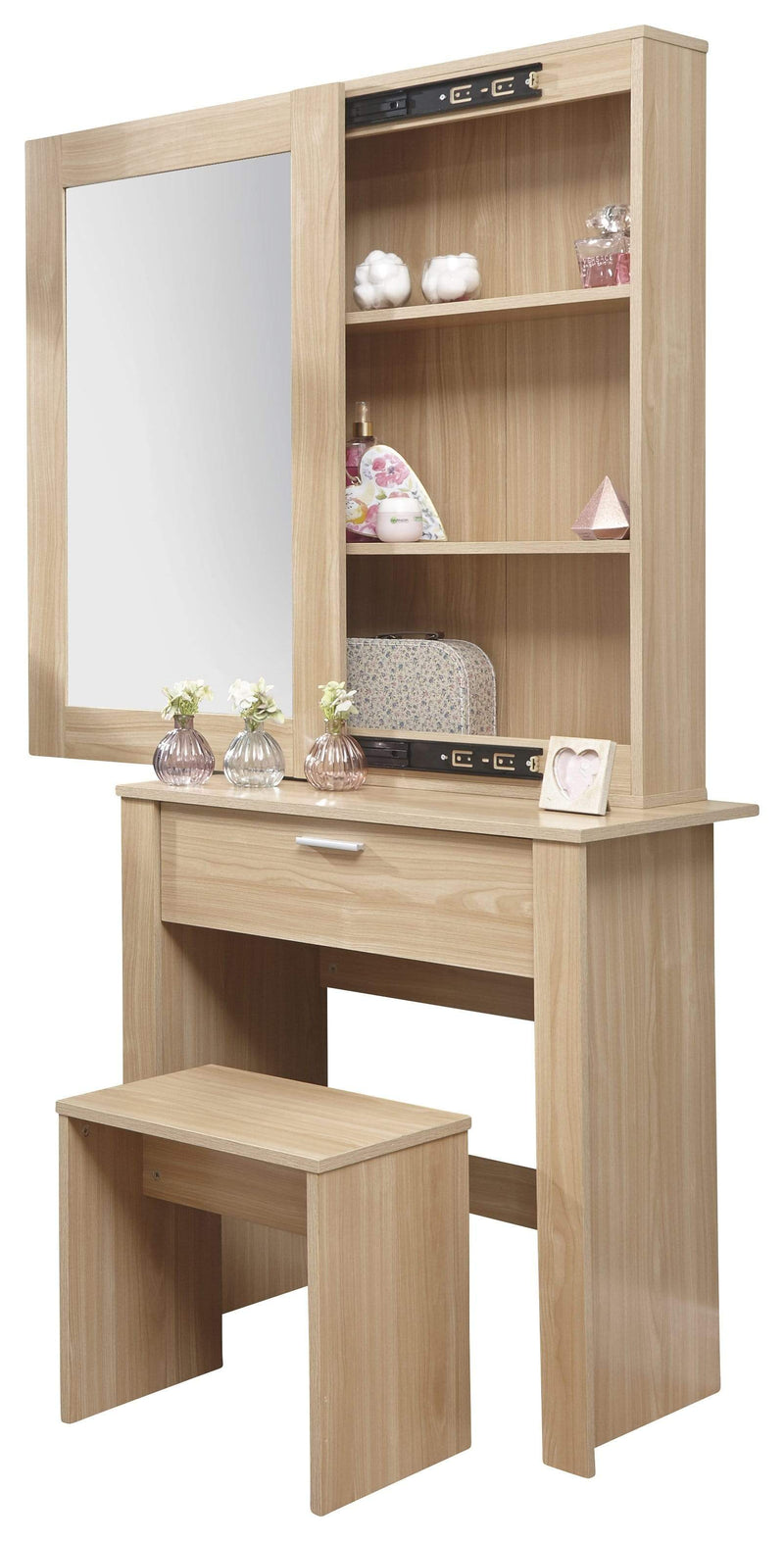 GFW Dressing Table Set Hobson Mirrored Unit + Stool Oak