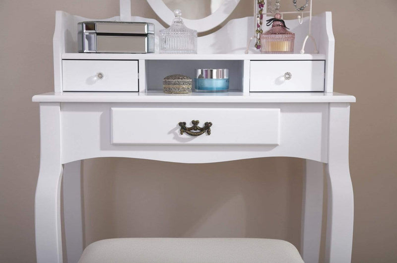 GFW Dressing Table Set Lumberton Dresser + Stool White