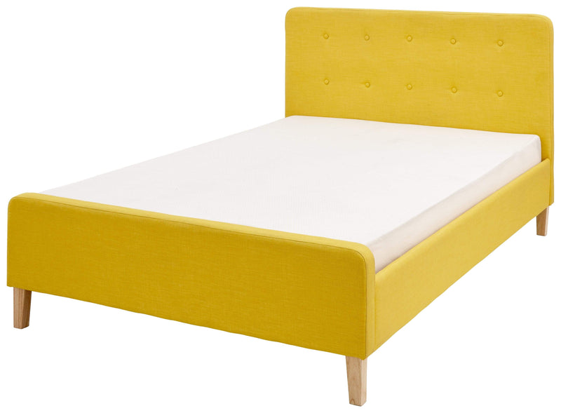GFW Fabric Bed Double 135cm 4ft 6in Ashbourne Bedstead Mustard