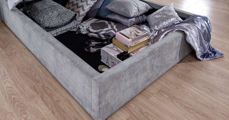 GFW Storage Bed Dakota Ottoman Bed With Solid Base Platinum
