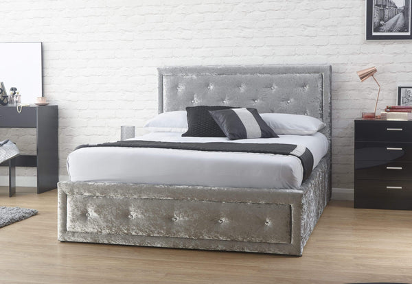 GFW Storage Bed Hollywood Ottoman Silver Crushed Velvet