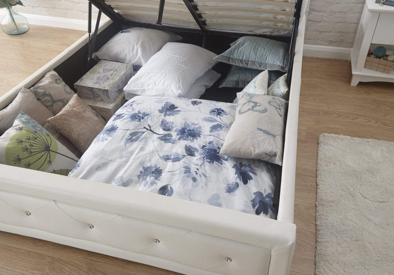 GFW Storage Bed Single 90cm 3ft Hollywood Ottman White
