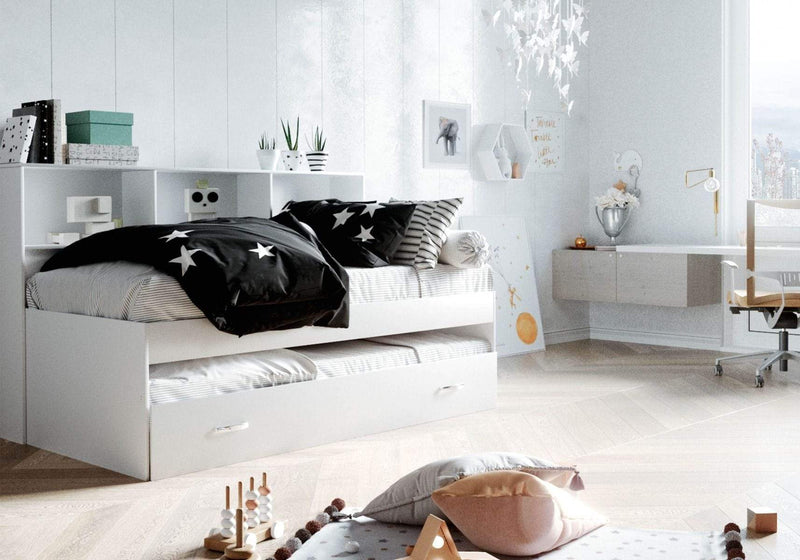 Zelda Guest Bed With Storage - White