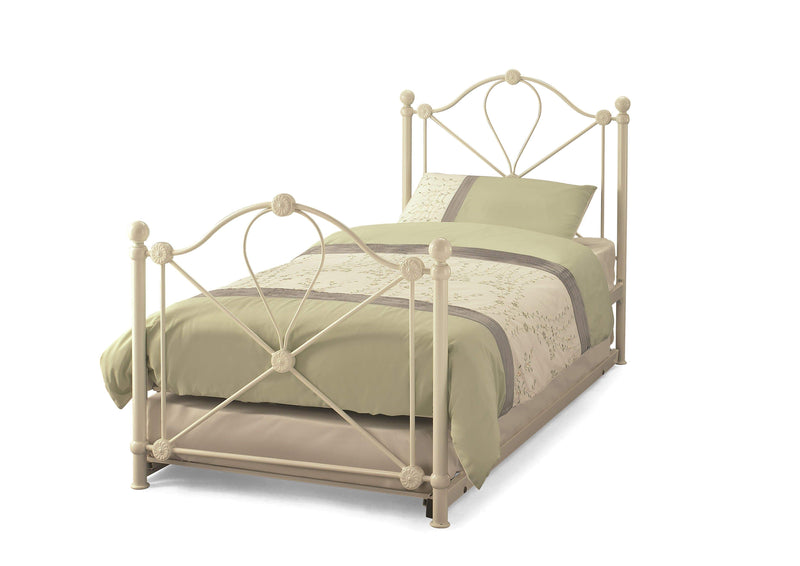 Serene Guest Bed Single 90cm 3ft Lyon Metal Bed & Guest Bed Set - Ivory Bed Kings
