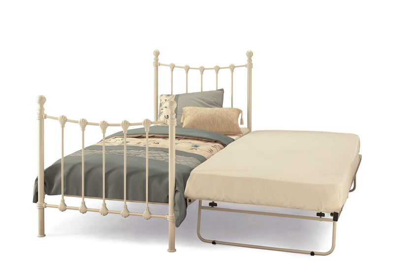 Serene Guest Bed Single 90cm 3ft Marseille Metal Bed & Guest Bed Set - Ivory Bed Kings