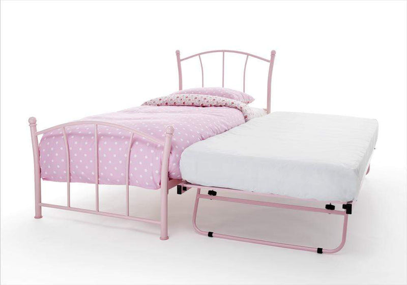 Serene Guest Bed Single 90cm 3ft Penny Metal Guest Bed - Pink Bed Kings