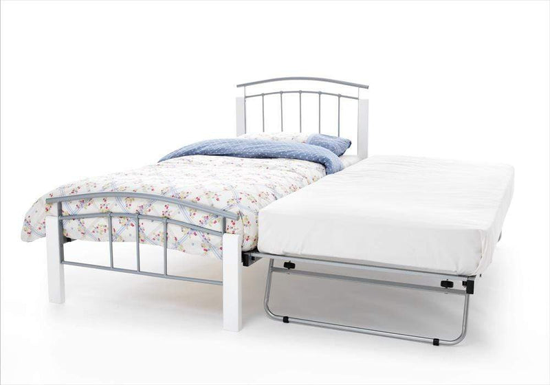 Serene Guest Bed Single 90cm 3ft Tetras Metal Guest Bed - Silver & White Bed Kings
