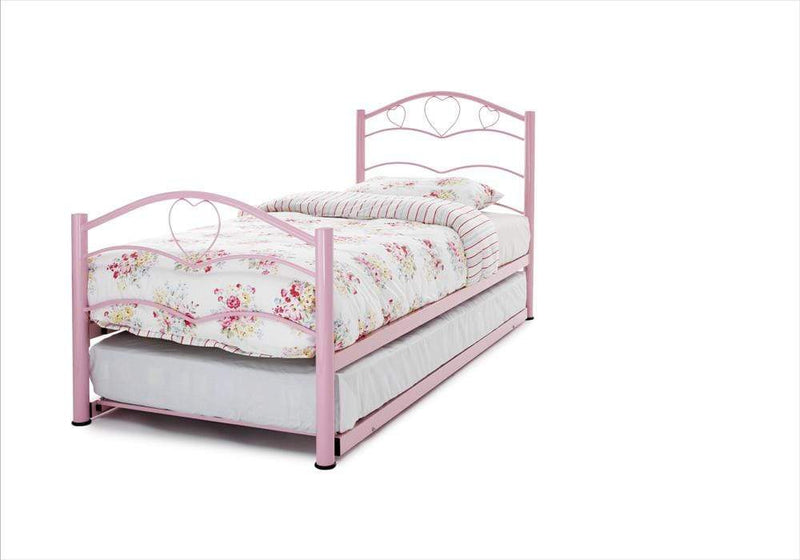 Serene Guest Bed Single 90cm 3ft Yasmin Metal Guest Bed - Pink Bed Kings