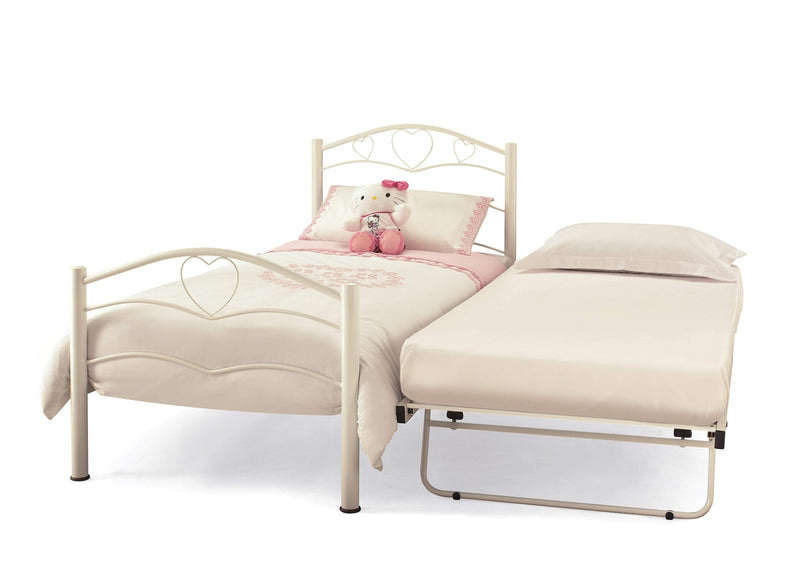 Serene Guest Bed Single 90cm 3ft Yasmin Metal Guest Bed - White Bed Kings