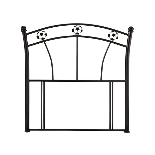 Serene Headboard Single 90cm 3ft Soccer  Metal Headboard - Black Bed Kings