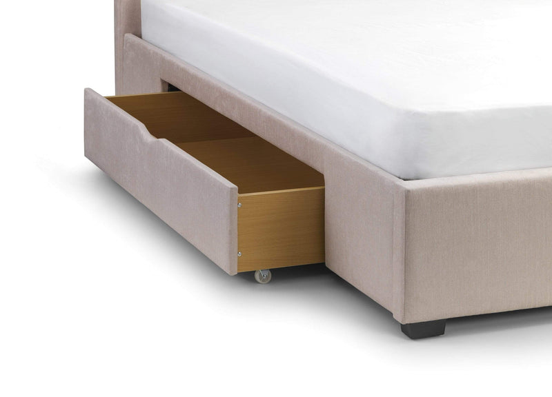Julian Bowen Fabric Bed Geneva 2 Drawer Storage Bed - Fabric Beds - Pearl Chenille