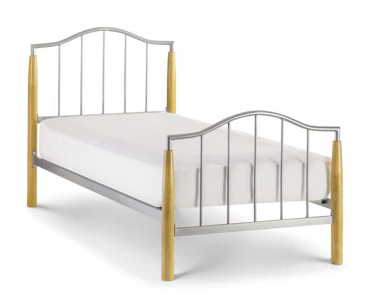 Julian Bowen Metal Bed Carmel Bed - Metal Beds - Bright Aluminium / Light Oak