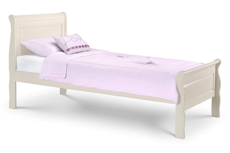 Julian Bowen Wood Bed Single 90cm 3ft Amelia Sleigh Bed - Wood - Stone White