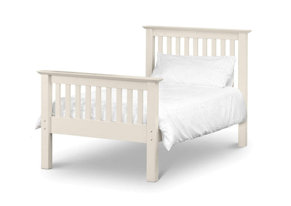 Julian Bowen Wood Bed Single 90cm 3ft Barcelona Hfe  Bed White - Wood - Stone White