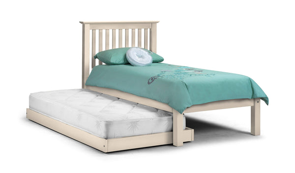Julian Bowen Wood Bed Single 90cm 3ft Barcelona Hideaway White - Wood - Stone White