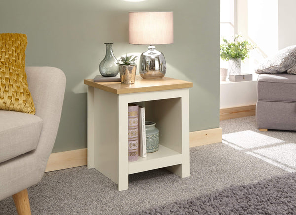 GFW Lamp Table Lancaster Side Table With Shelf Cream Bed Kings