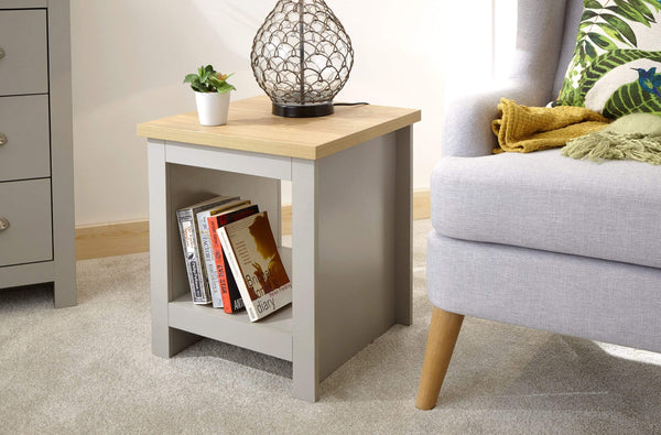 GFW Lamp Table Lancaster Side Table With Shelf Grey Bed Kings