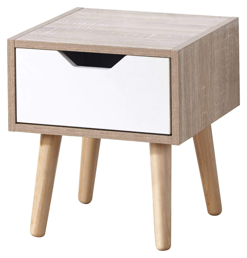 GFW Lamp Table Stockholm 1 Drawer Nightstand White Oak Bed Kings