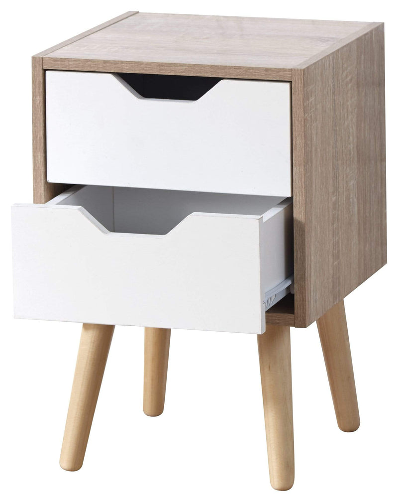 GFW Lamp Table Stockholm 2 Drawer Nightstand White Oak Bed Kings
