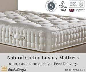 Deluxe Beds Mattress Natural Luxury - 1000 Pocket Spring Mattress - Soft Firmness Bed Kings