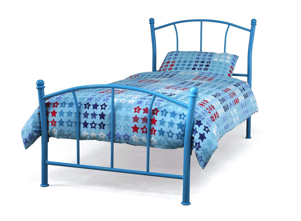 Serene Metal Bed Single 90cm 3ft Penny  Metal Bed - Blue Bed Kings