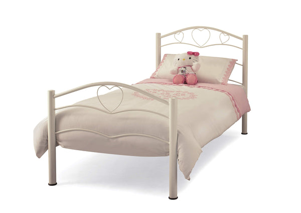 Serene Metal Bed Single 90cm 3ft Yasmin  Metal Bed - White Bed Kings