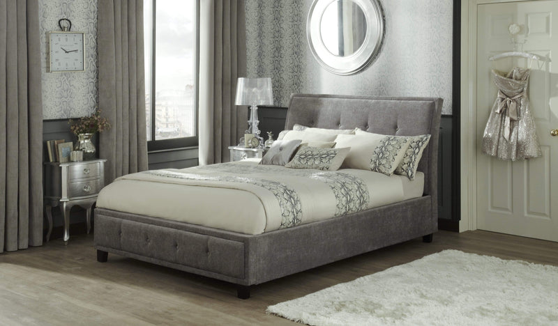 Serene Ottoman Bed Wesley  Fabric Upholstered Ottoman Bed - Steel Bed Kings