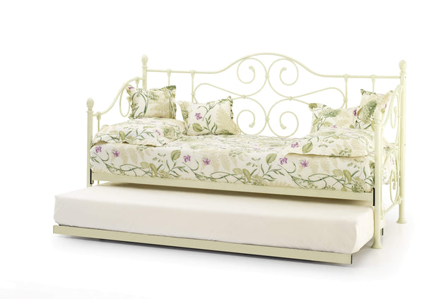 Serene Day Bed and Trundle Set Single 90cm 3ft Florence Metal Day Bed & Trundle Bed- Ivory