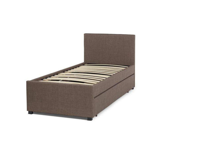 Serene Fabric Bed Single 90cm 3ft Lily  Upholstered Fabric Bed - Chocolate