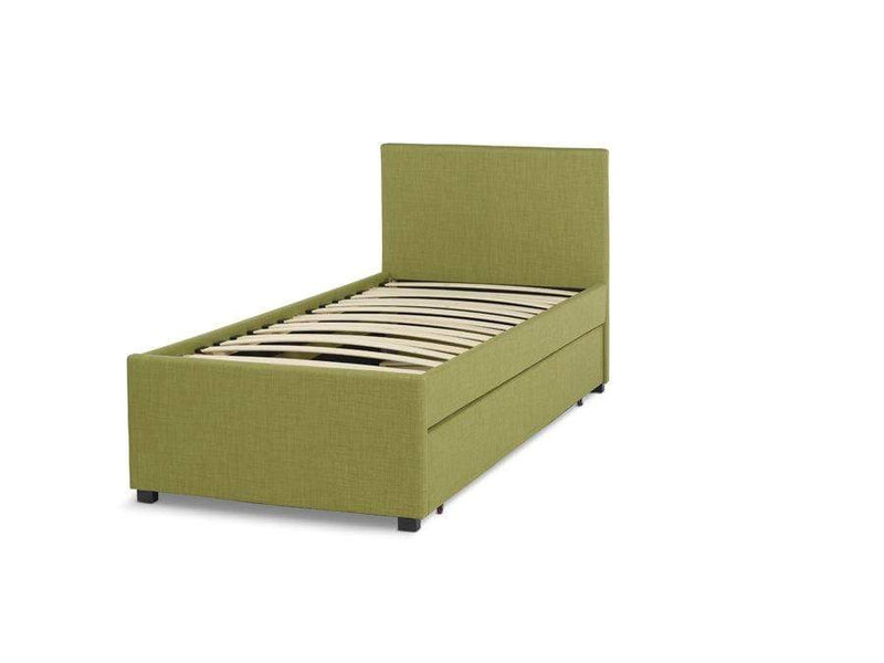 Serene Fabric Bed Single 90cm 3ft Lily  Upholstered Fabric Bed - Olive