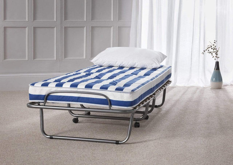 Serene Folding Bed Small Single 80cm 2ft6in Arezzo  Metal Folding Bed - Silver